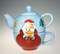 Tea For One Santa Claus Christmas Holiday Ceramic Teapot Set NIB #NewCreativeEnterprises