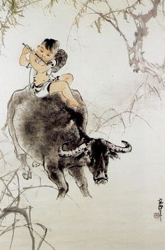 By Au Ho Lien 歐豪年 Boy and the Ox - famous Buddhist Scroll. Pebble Painting, Painting & Drawing, Asian Artwork, Art Chinois, China Art, Zen Art, Animal Sketches, Buddhist Art, Japan Art