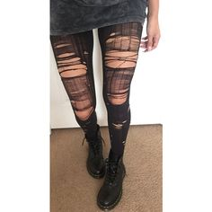 Opaque Ripped Tights ($21) ❤ liked on Polyvore featuring intimates, hosiery, tights, bottoms, leggings, pants, pantyhose tights, opaque tights, transparent tights and pantyhose stockings