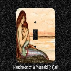 Mermaid Mommy & Baby Vintage Light Switch Plate by Mermaidincali