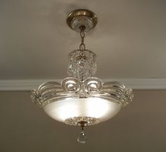 Antique Chandelier 1930's Vintage Art Deco Frosted & Clear Pressed Glass Ceiling Light Fixture Rewired PAIR AVAILABLE