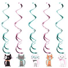 One Set of 5 Kitten Party Dizzy Danglers. These danglers measure 39 inches long. Perfect to use on ceilings, doorways, windows and more. Complete your kitten party decorations with these cute danglers! Kitten Party, Cat Party, Pusheen, Cat Birthday, Cheetah Birthday, Third Birthday, Pretty Cats, Pretty Kitty, Party Items