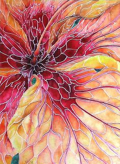 Hibiscus Mosaic Watercolor by Nancy Hartson-Miller