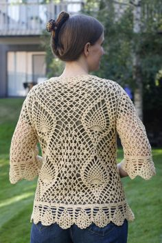 crochet cardigan | Cream Pineapple Crochet Sweater