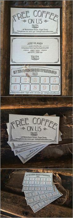 truth coffee - free coffee letterpress card design