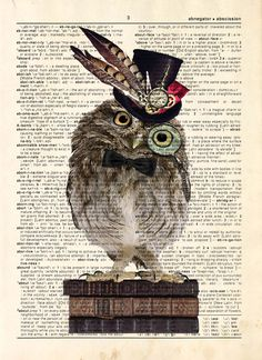 "<*> Dictionary Print: - ""Wise Hipster Owl "" - up-cycled vintage book page, whimsical, geek gift, gift for her, steampunk art"