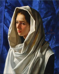 Artist: Arsen Kurbanov (b. oil on canvas {figurative art painter beautiful female head hooded woman face portrait cropped painting Woman Painting, Painting & Drawing, Draw Realistic, Portrait Art, Portraits, White Shawl, Painted Ladies, Art Academy, Old Master