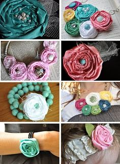 Little Birdie Secrets: fabric rosette tutorial extravaganza! How to make fabric flowers for jewelry, headbands, cards, and more! Cute Crafts, Crafts To Make, Arts And Crafts, Diy Crafts, Creative Crafts, Decor Crafts, Handmade Flowers, Diy Flowers, Fabric Flowers