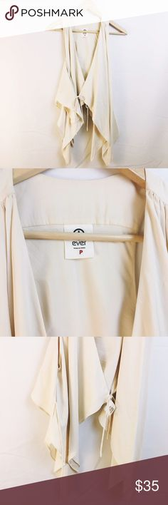 EVER cream white silk wrap drapey tank top Gorgeous. 100% silk. Perfect like new condition ever Tops Tank Tops