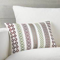 Garland Pillow | Crate and Barrel  Can do something different for Christmas!