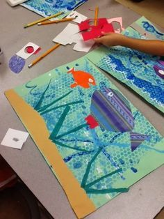 Ocean Ideas, Ocean Art Lessons, Kindergarten Printmaking, Art Projects