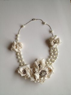 Ivory & Pearl Bridal Statement NecklaceReady by beanandthesprout, $90.00