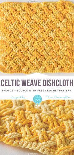 Celtic Weave Dishcloth Free Crochet Pattern Crochet Square Patterns, Crochet Dishcloths Free Patterns, Crochet Blanket Patterns, Crochet Afghans, Simple Crochet Patterns, Crochet Blankets, Crocheting Patterns, Crochet Ideas, Crochet Towel