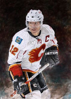 x acrylic on canvas painting of Jarome Iginla, Calgary Flames by artist Joe Versikaitis Hockey Crafts, Sports Art, Hockey Players, Calgary, Nhl, Captain America, Hockey Stuff, Illustrators, Motorcycle Jacket