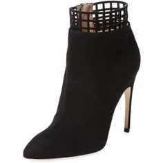 Sergio Rossi Women's Cut-Out Ankle Bootie - Black - Size 39 ($499) ❤ liked on Polyvore featuring shoes, boots, ankle booties, black, black cutout booties, high heel ankle boots, cut out booties, leather ankle boots and black leather ankle booties