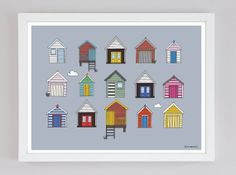 Beach Huts - A4 Hand Drawn Illustration Print