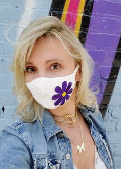 Protective Face Mask Washable Hand Made in USA Free US shipping white purple flower color Easy Face Masks, Cool Masks, Diy Face Mask, Purple Colour Flowers, Colorful Flowers, Exotic Flowers, Yellow Roses, Pink Roses, Crochet Hooded Scarf