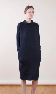 SEMI GLOSS Low Funnel Neck French Terry Dress