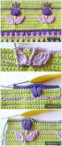 Textured Crochet Flower Stitch Free Pattern - Crochet Flower Stitch Free Patterns