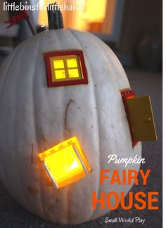 White Pumpkin Fairy House Fall Small World Play. Fun Fall kid's activity. Carve out a pumpkin and use small props to create a fairy house or small world for pretend or dramatic play!