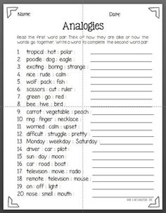 Here are two great worksheets for practicing analogies. The first ...