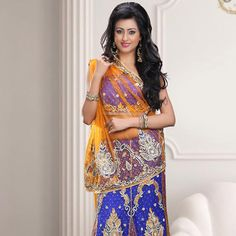 Light Mustard and Blue Net Lehenga Style Saree with Blouse