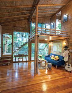 A Bamboo House Embraced by Nature Bamboo House Design, Tropical House Design, Modern House Design, Bamboo Building, Bamboo Architecture, House Architecture, Hut House, Philippine Houses, Bamboo Structure