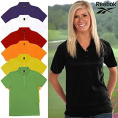 Women's Polo Shirts - Reebok Womens Platinum Cotton Pique 7316 Polo Shirt Uniform Active Wear Sports ** You can get more details by clicking on the image.