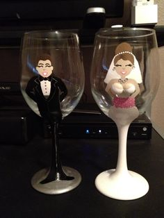 Painted wine glass Bride & Groom set, $50 for a pair.  I do custom orders.