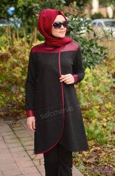 Tesettür Tunik 41169-03 Siyah Fashion Wear, Modest Fashion, Hijab Fashion, Fashion Outfits, Eid Dresses, Pakistani Dresses, Hijab Chic, Moslem Fashion, Kebaya Dress