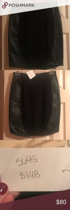 Pencil Skirt Black Pencil skirt with leather detail Morrissey Y? Skirts Pencil