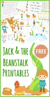 Jack and the Beanstalk Free Printables ~ Toddlers, Preschoolers, and Kindergartners will all love these free printables. Lots of literacy and math activities to make learning fun!