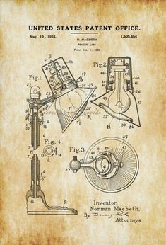 Patent print poster of a reading lamp invented by Norman Macbeth. The patent was issued by the United States Patent Office on August 19, 1924. [insert page='insert-boilerplate-short'…MoreMore #PatentArtDecor