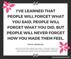 Use this quote from Maya Angelou as a class discussion starter or writing prompt. https://www.teachervision.com/african-americans/biography/4570.html #BlackHistory #Poetry #Writers