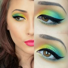 Tropical eyeshadow in yellows, greens and blues over black cat eyeliner. Get more bright eye makeup ideas on http://minkilashes.org/10-bright-eye-makeup-ideas-to-make-a-statement/