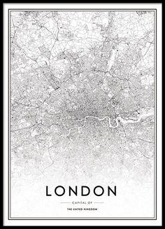 Poster mit Karte von London in elegantem Design. Detaillierte Karte über die schöne Hauptstadt des Vereinigten Königreichs. Das Poster passt wunderschön in einen Rahmen und kann dank des schwarz-weißen Designs in fast jeden Einrichtungsstil integriert werden. www.desenio.de