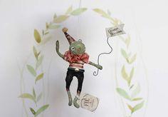 Fil À Sophie vintage inspired pumpkin doll harvest spun cotton ornament - jack o lantern