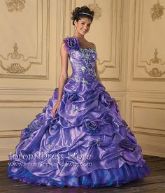 Quinceanera Dresses One shoulder Floor-Length Sleeveless Taffeta Lavender Quinceanera Dresses with Embroidery(PWG7886) [PWG7886] - US: Prom Dresses and Quinceanera Dresses - Iprom Dress Store, Iprom Dress Store