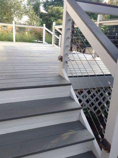 Grey And White Deck Cape Cod Paint With House Trim What Color Gray Railing – a… - Modern Deck Stain Colors, Deck Colors, Behr Deck Over Colors, Decking Colours Ideas, Cool Deck, Diy Deck, Railing Design, Patio Design, Railing Ideas