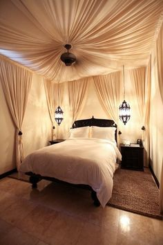dream bedroom. lighting and draped fabric ceiling