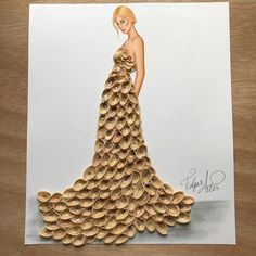 """""""Empty Feelings"""" by Edgar Artis; dress made out of pistachio shells Fashion Design Drawings, Fashion Sketches, Dress Sketches, Creative Artwork, Creative Crafts, Artwork Ideas, Funny Drawings, Art Drawings, Unique Drawings"""
