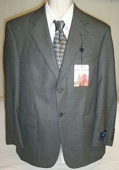NWT Stafford $400 Mens 2 button Suit Jacket Worsted Wool 40 Short Gray #Stafford #TwoButton