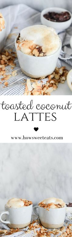 Toasted Coconut Lattes ~ Includes a recipe for homemade coconut syrup. Smoothie Without Yogurt, Yogurt Smoothies, Fruit Yogurt, Coconut Syrup, Toasted Coconut, Milk Recipes, Coffee Recipes, Yummy Drinks, Delicious Desserts