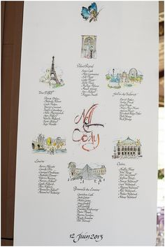Hand drawn menue  | On French Wedding Style with Photography © Encre Noire  Eric Malemanche