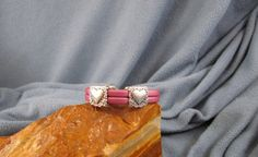 2 Strand 5mm Pink Leather Bracelet with by Loopsandlyricscrafts