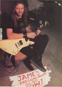 "Mr. James Hetfield, Guitarist & Lead Vocalist For Metallica; In His ""Master Of Puppets"" - Days; With One Of His White ESP Explorers!....He Said Of Them: ""I Put The EMG Pick - Ups In BACKWARDS, So That's Probably How I Got My UNIQUE Sound, LOL!""..... ;)"