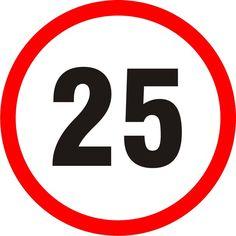 Naklejka Ograniczenie prędkości 25 km.Oznaczenie określa indywidualną dopuszczalną prędkość ustaloną przez organ rejestrujący.