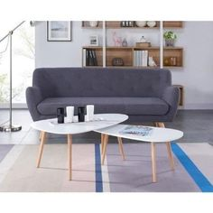 KIVI Lot de 2 tables basses gigognes style scandinaves en MDF laqué blanc mat - L 98 x l 61 / L 88 x l 48 cm - Achat / Vente table basse KIVI Lot de 2 tables basses - Cdiscount