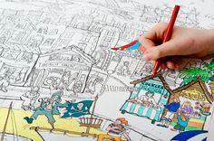 Giant Colouring Poster - Seaside 100 x Kids Poster, All Poster, Castle On The Hill, Safe Storage, Poster Colour, Young Ones, Going Home, Glass House, Crystals