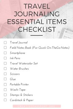 Travel Journaling Guide - Essential Items Checklist - Creative Passport. Inspiration and ideas for art journaling, travel journaling, and scrapbooking